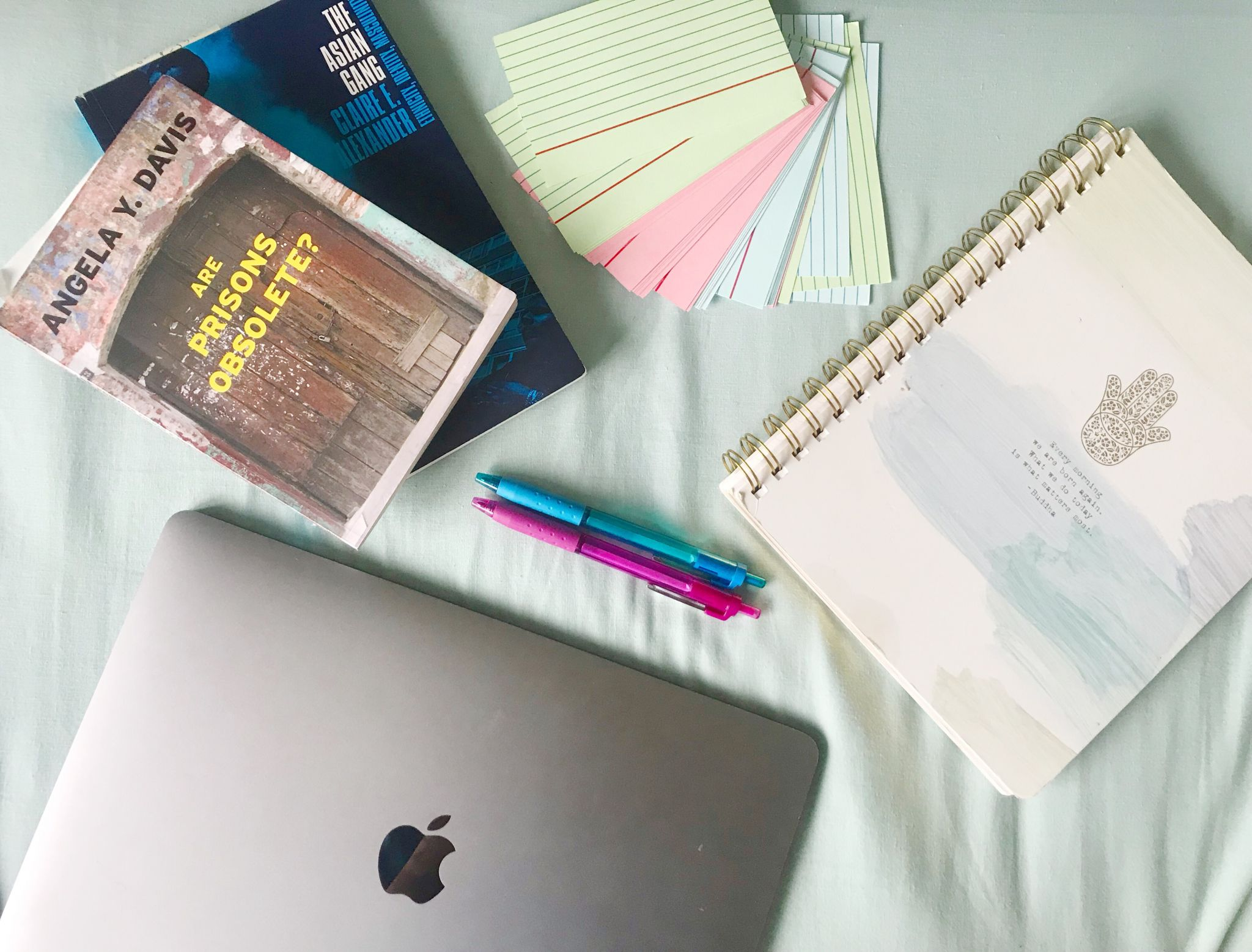 stationery and university/dissertation essentials flat-lay