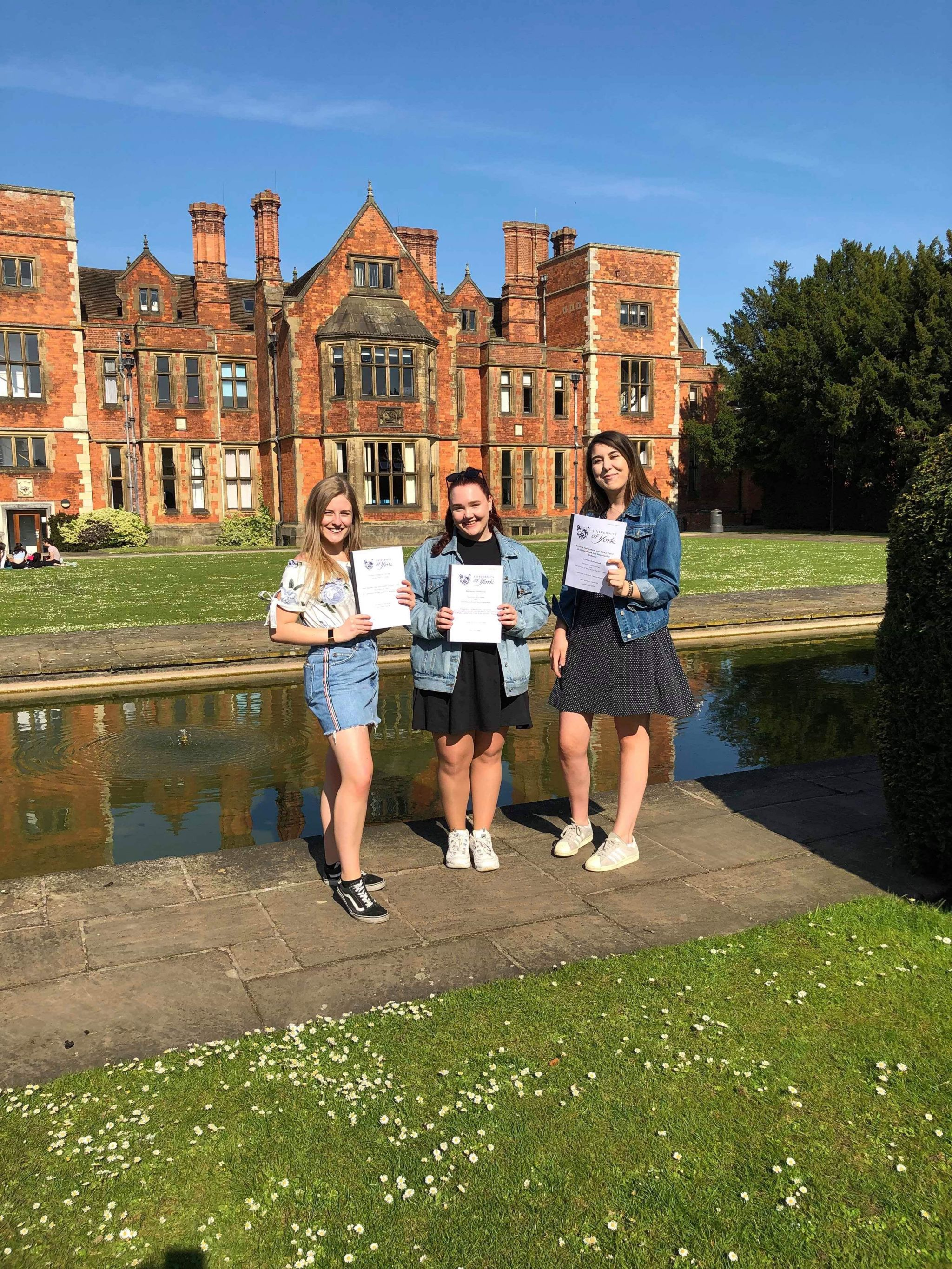 the girls and I with our dissertations outside heslington hall