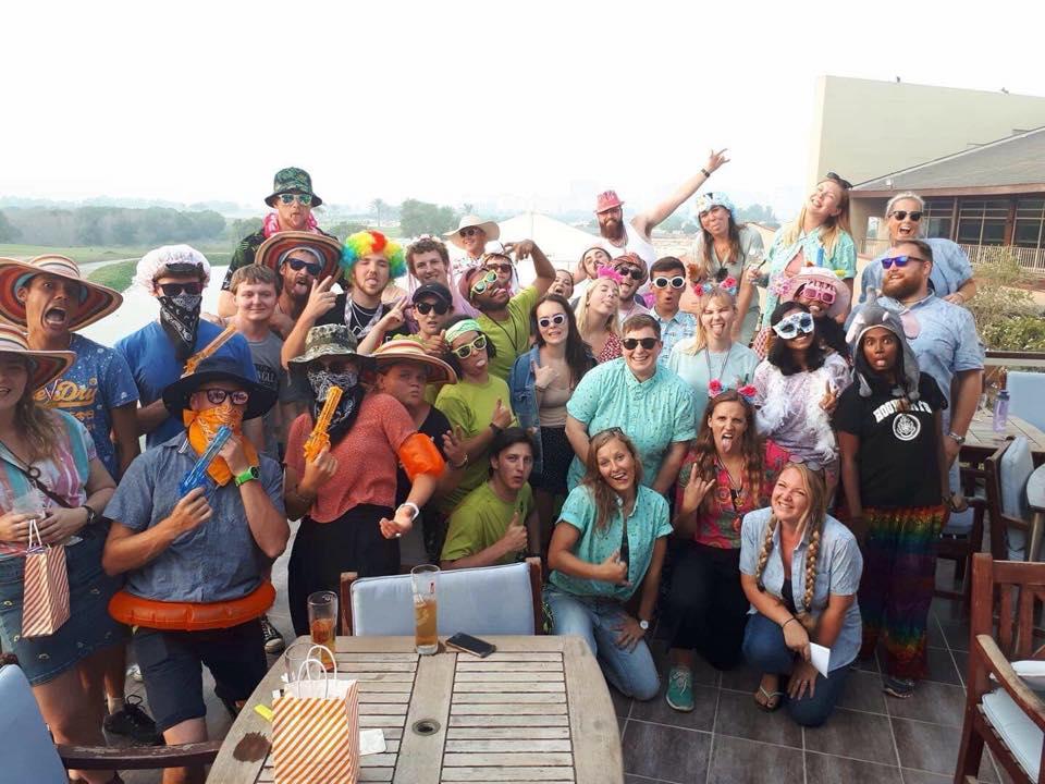 Move Overseas - Team Ecoventure in fancy dress post scavenger hunt