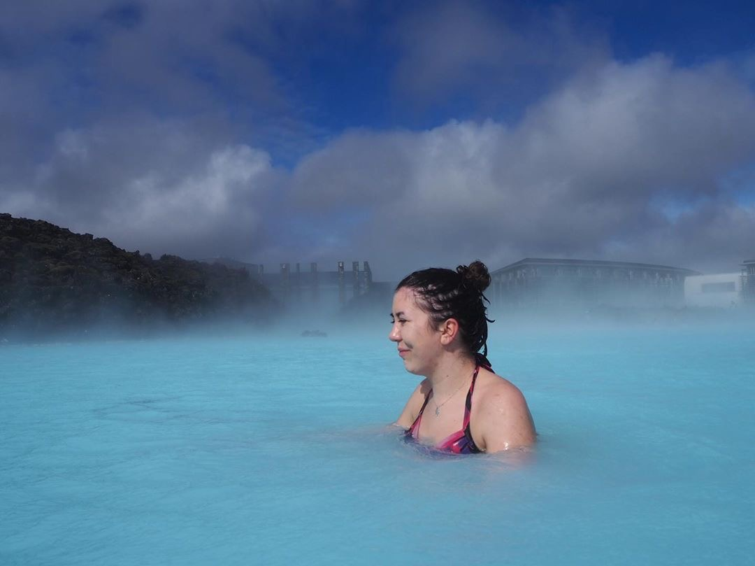 squinting with the sun in my eyes in the blue lagoon