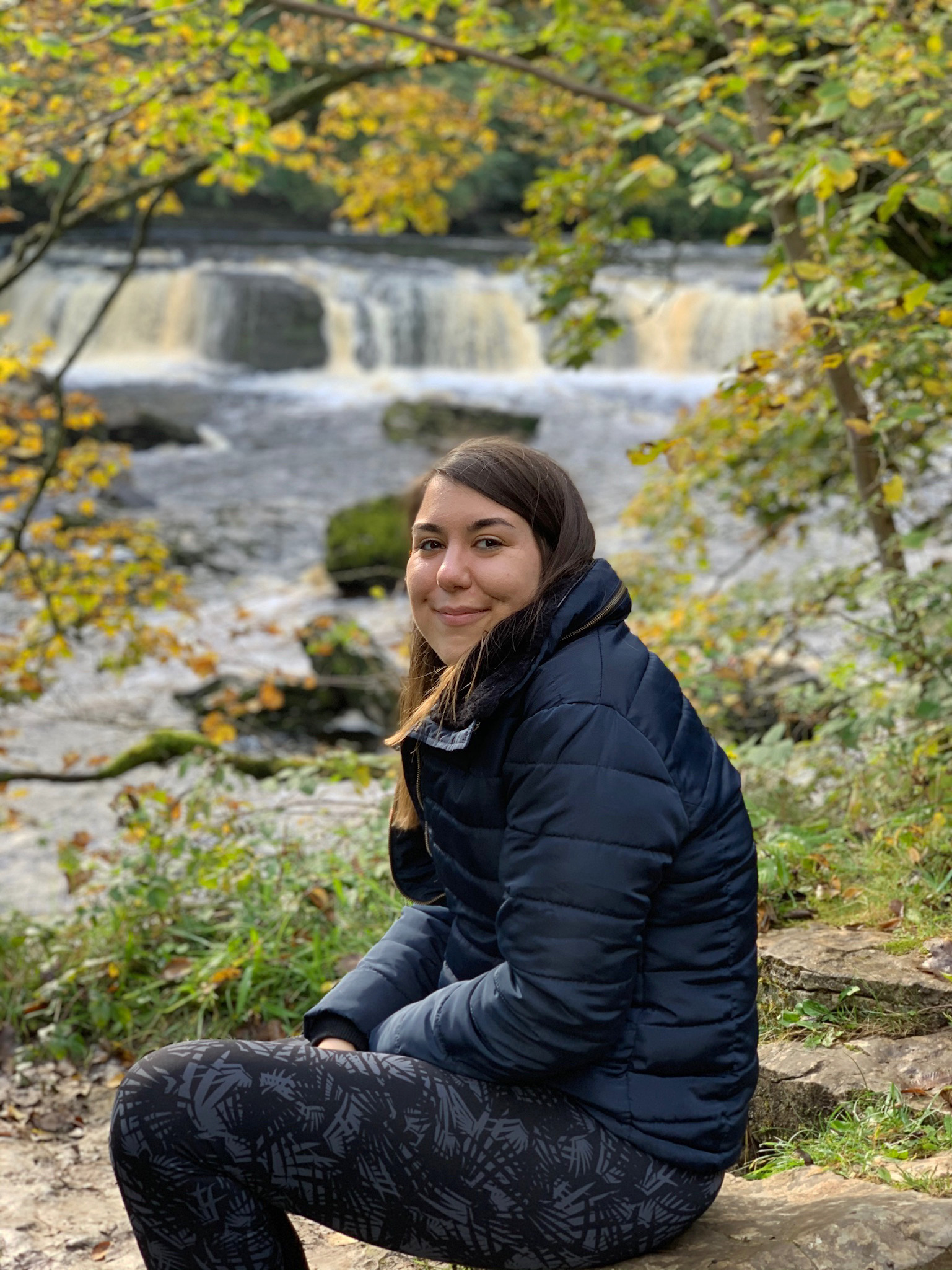 me sat in front of Aygarth Falls in the Yorkshire Dales