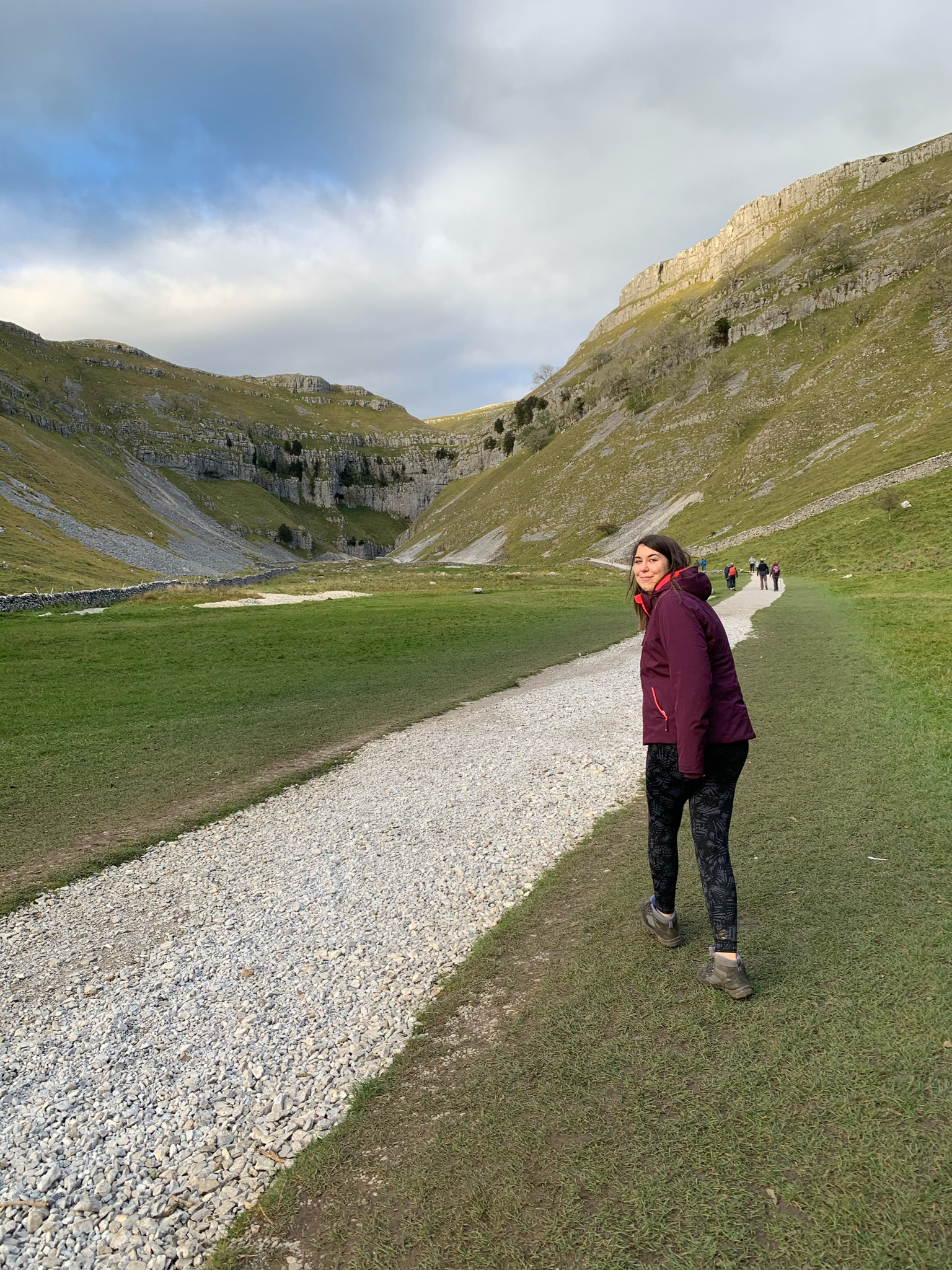 Walking through Gordale Scar in the Yorkshire Dales