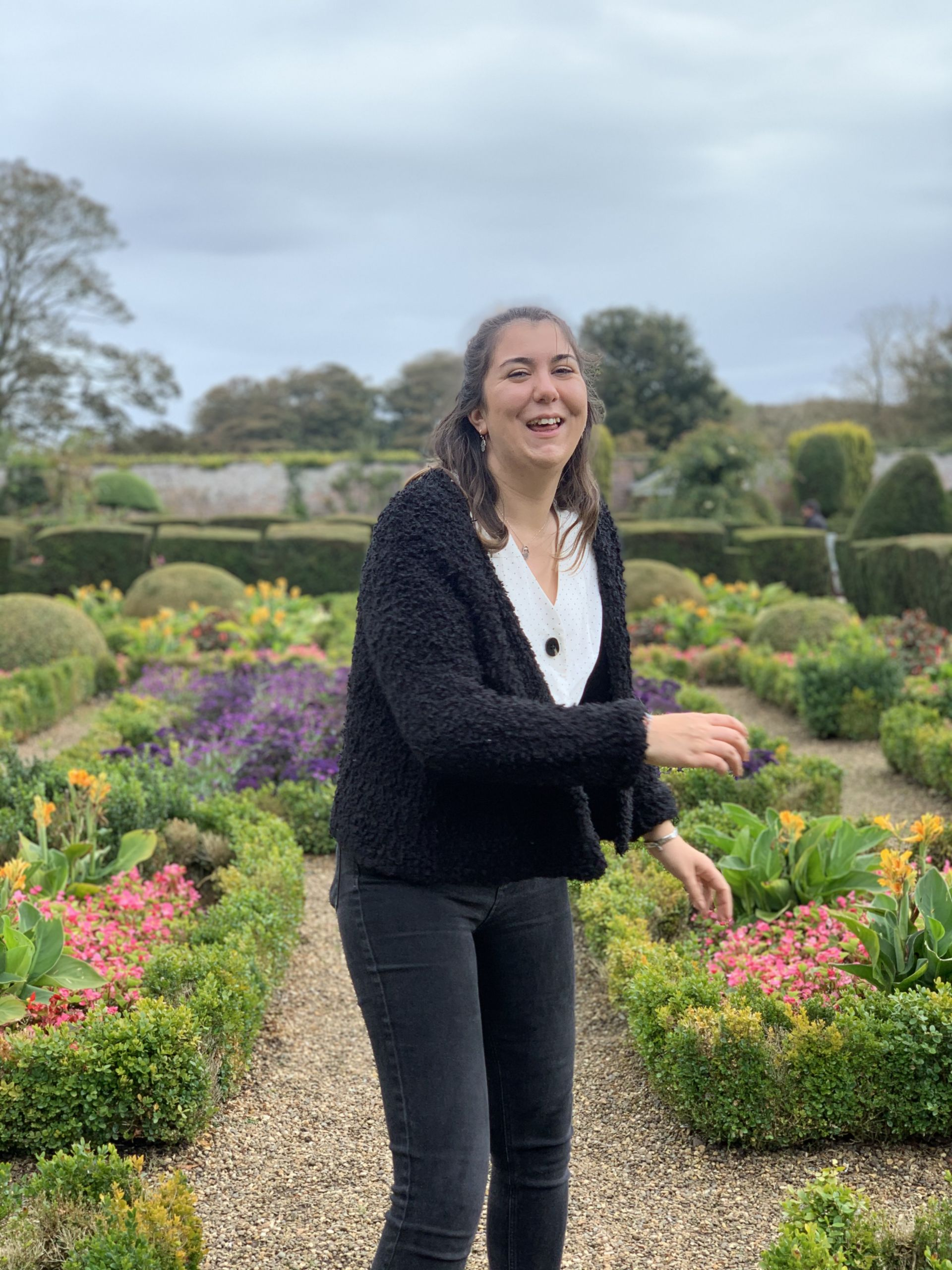 Me stood laughing in the flower gardens at Sewerby Hall