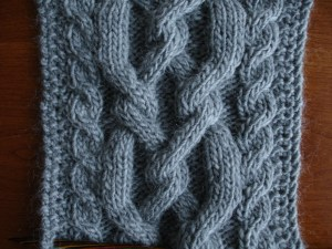 The knitted Croftmas snood, available at The White Room