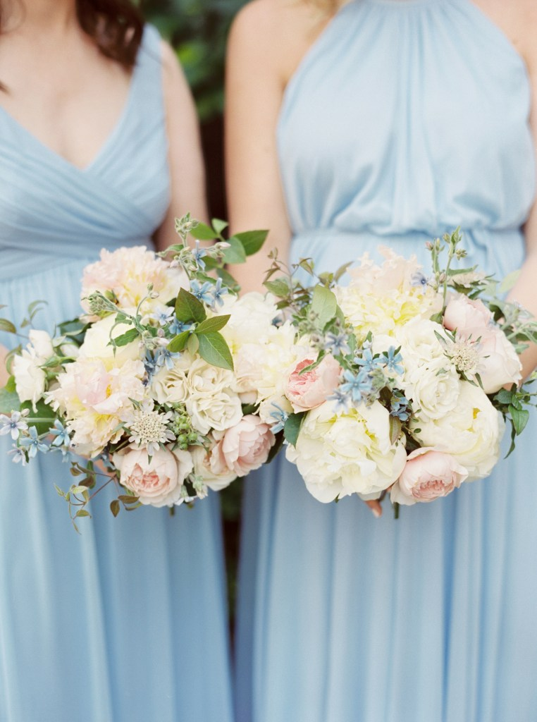 Wild Bloom Florals peony bridesmaid bouquets ice blue bridesmaid dresses -- by Blue Rose Photography