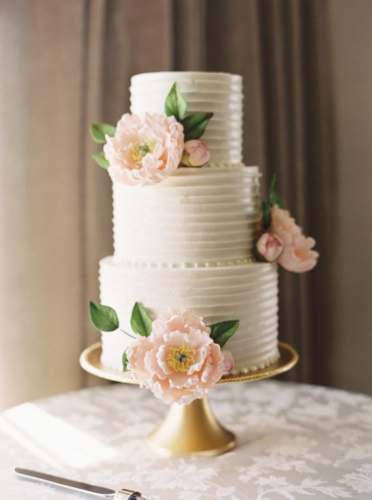 Honey Crumb Cake Studio Classic Wedding Cake with Sugar Peonies -- by Blue Rose Photography