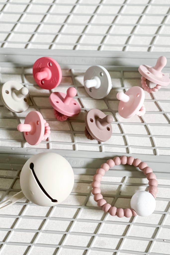 Sanitizing Silicone Pacifiers featuring Ryan and Rose Cutie Pat Pacifiers and Dorai Drying Pad