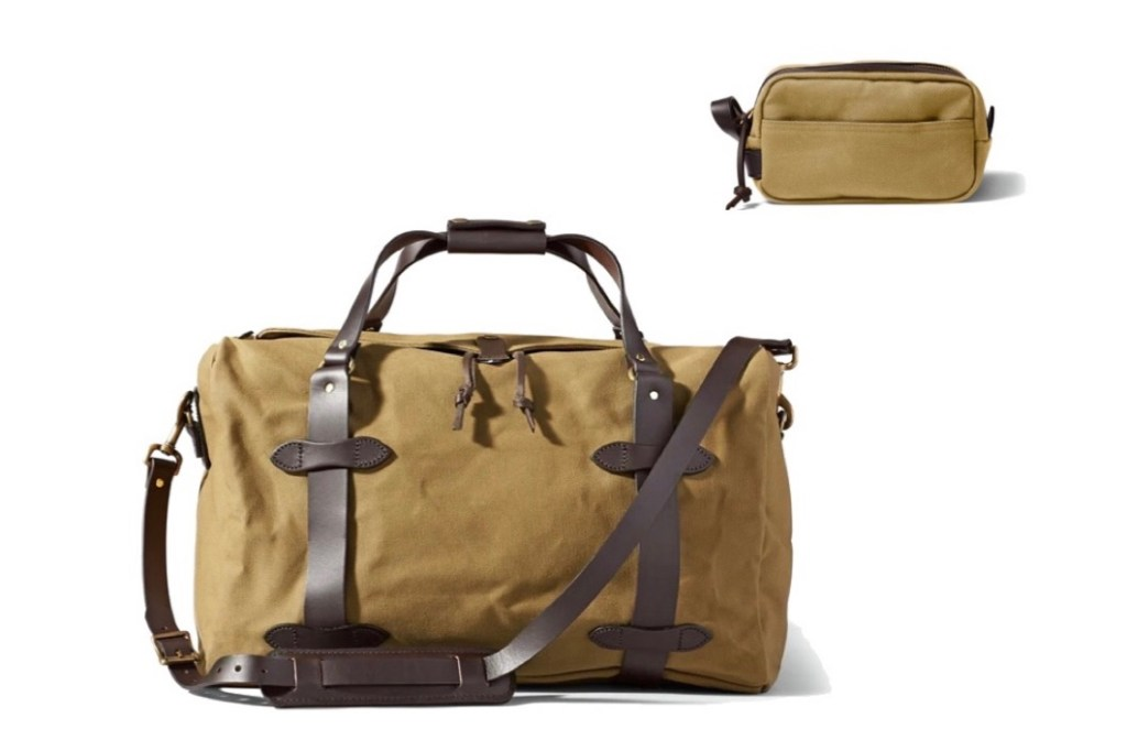 Father's Day Gift Ideas - Filson duffle bag and dopp kit travel bag
