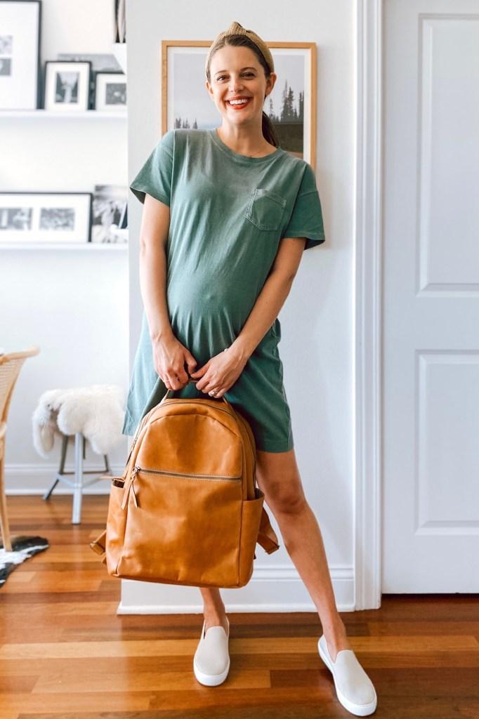 Jess Keys of the Golden Girl blog with her diaper bag backpack