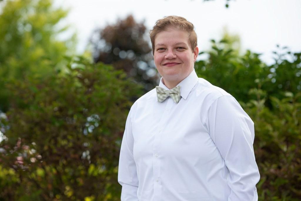 Cheryl sporting her bow tie for her Michigan LGBTQ wedding