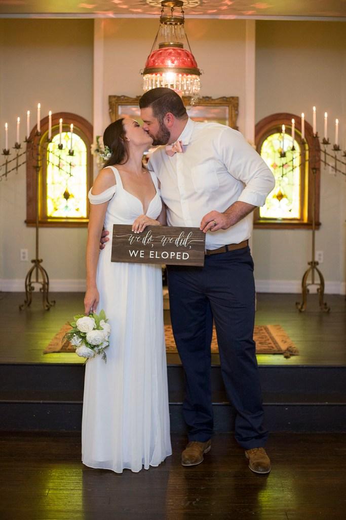 We eloped wooden sign