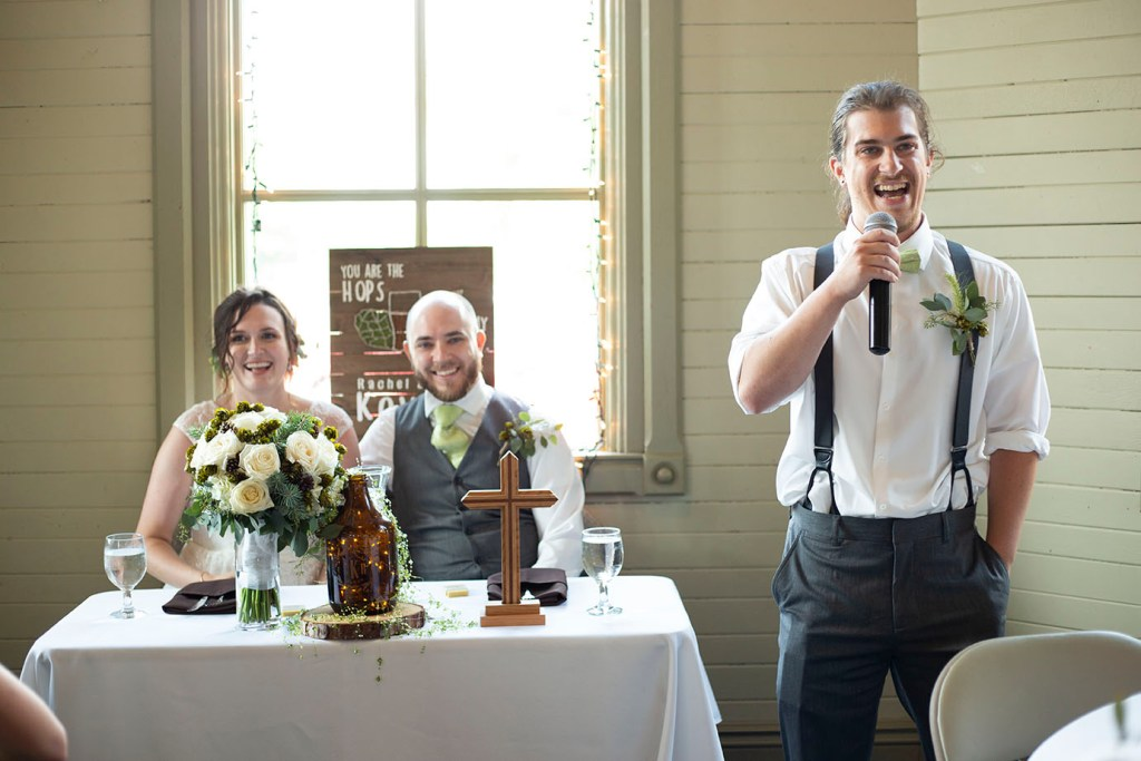 Best Man laughing during his speech
