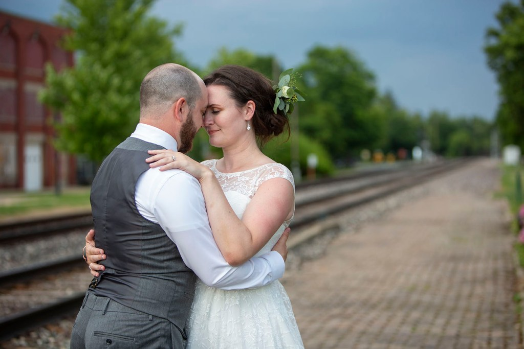 Wedding couple outside of the Historic Chelsea Depot