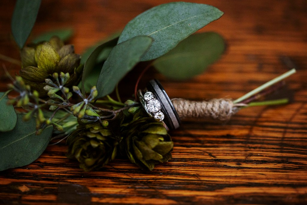 Michigan wedding rings with hopps boutonniere