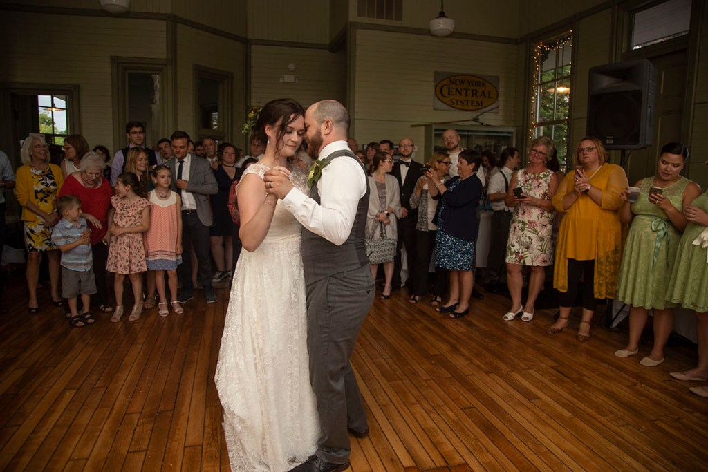 Guests look on for couples first dance