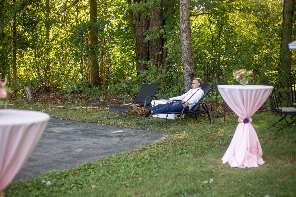 Groomsman relaxing