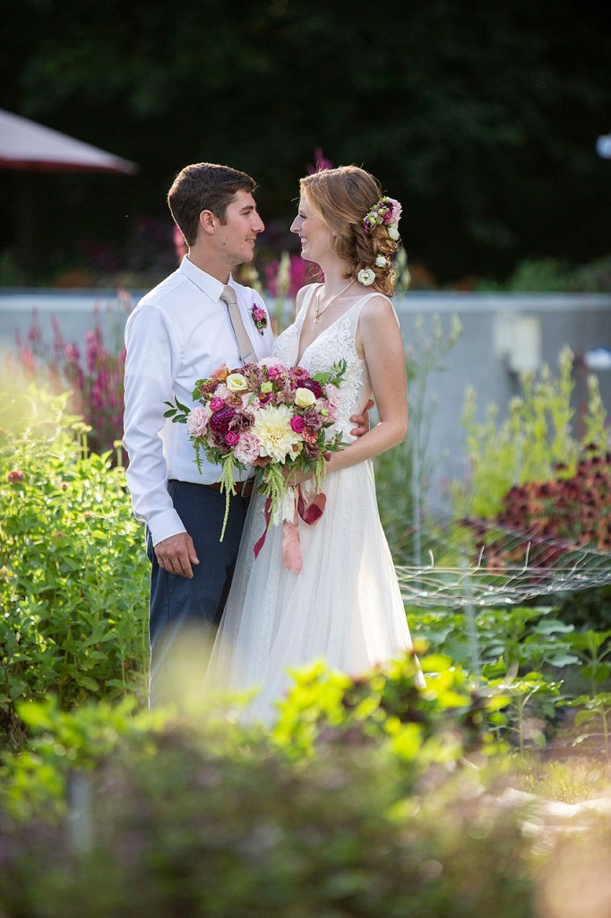 Belleville wedding couple gazing at each other