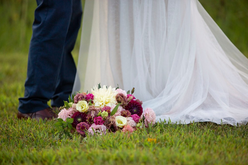 Maroon and pink wedding bouquet