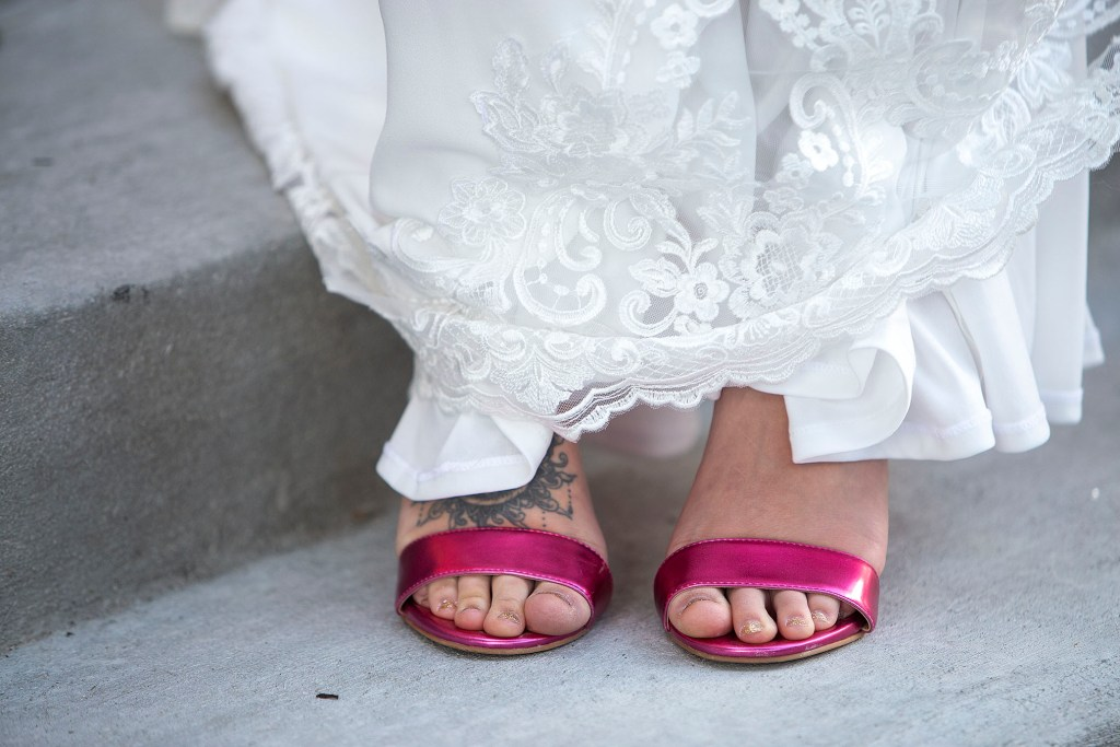 Magenta wedding shoes at their Howell wedding