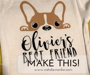 "Make this ""Baby's Best Friend"" french bulldog onesie using the Cricut tutorial at nataliemenke.com"