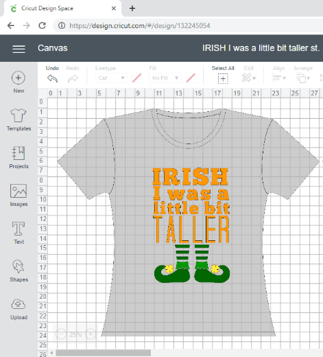 Screen shot of Irish I was a Little Bit Taller custom St. Patrick's Day shirt