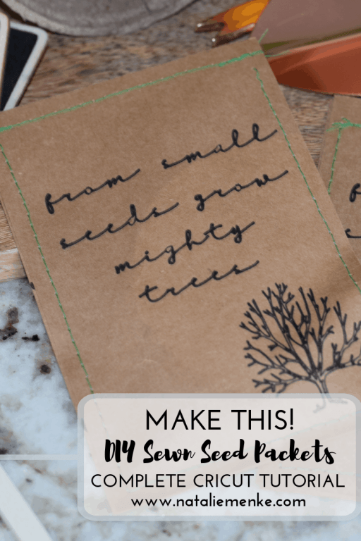 How to make DIY seed packets using your Cricut and sewing machine via the tutorial at www.nataliemenke.com