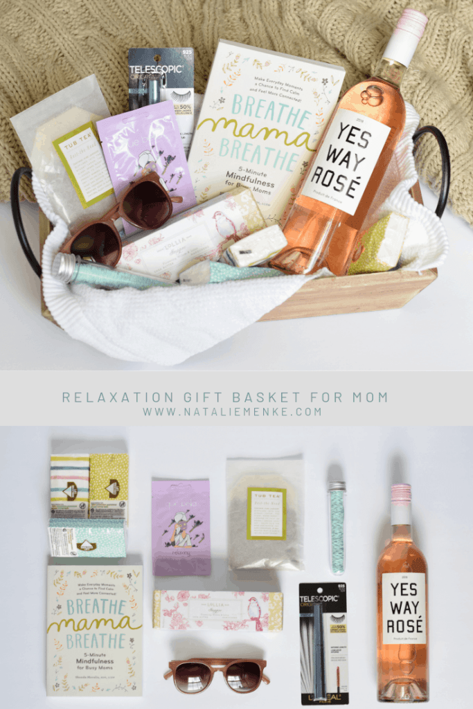Give the gift of relaxation with this gift basket for mom! Make your own using the inspiration at www.nataliemenke.com