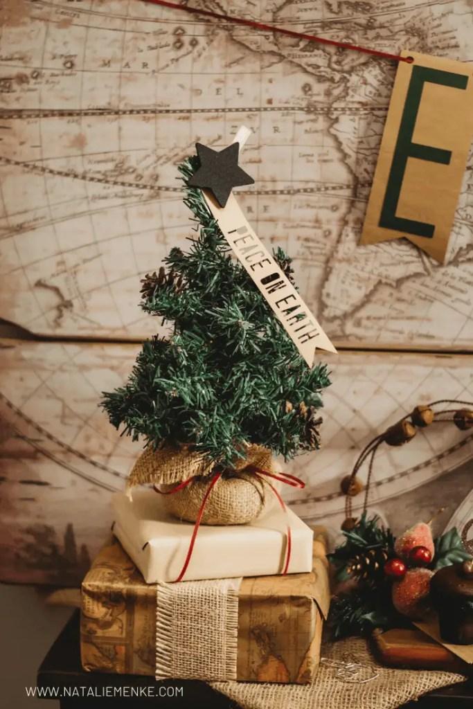kraft paper Peace on Earth Christmas tree topper