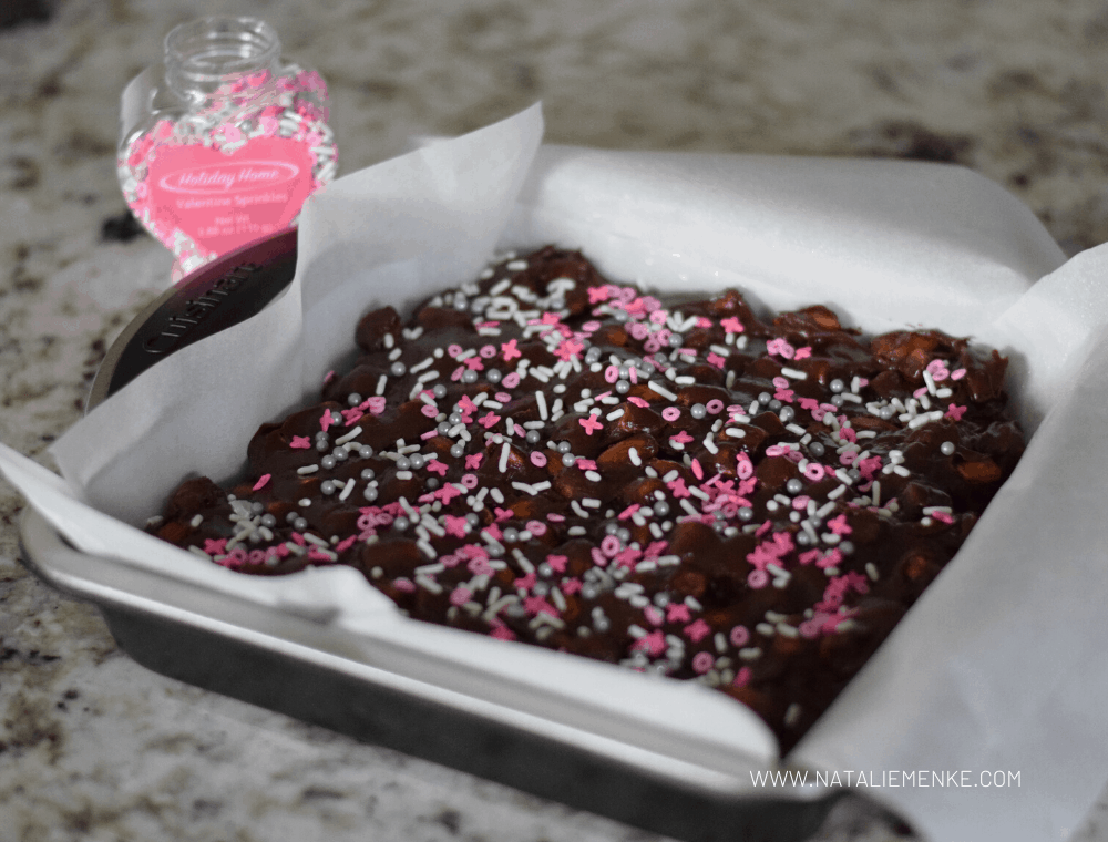 Heavenly Hash chocolate candy with Valentine's Day sprinkles