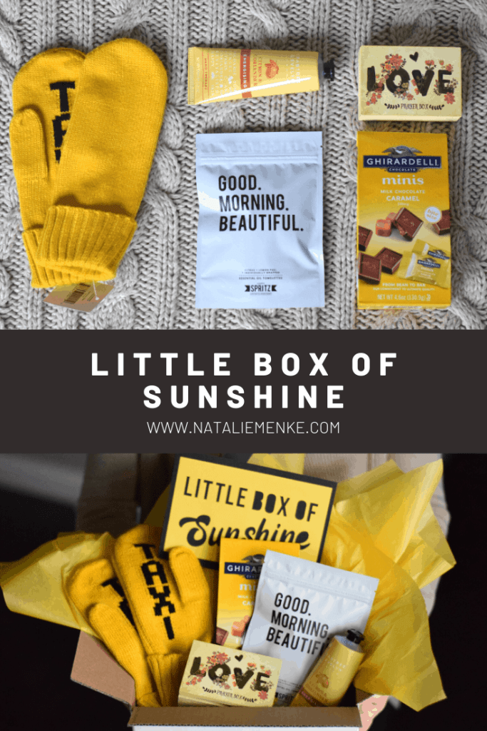 """little box of sunshine with yellow mittens, Ghirardelli chocolates, yellow lotion, Good Morning Beautiful towels, and yellow """"love"""" box"""