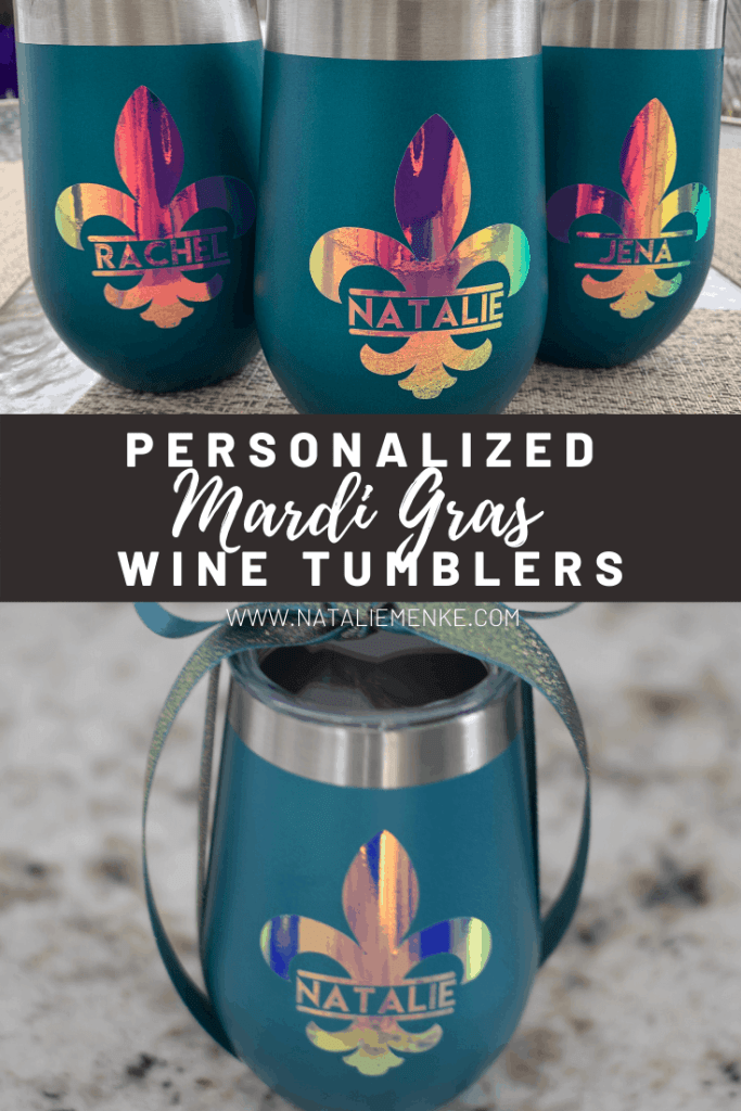 insulated wine tumblers with holographic flour de lis vinyl