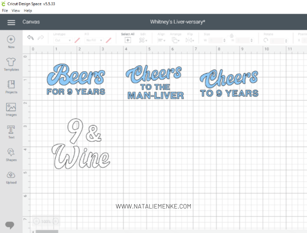 Cricut Design Space screen shot of text for organ transplant anniversary party favors