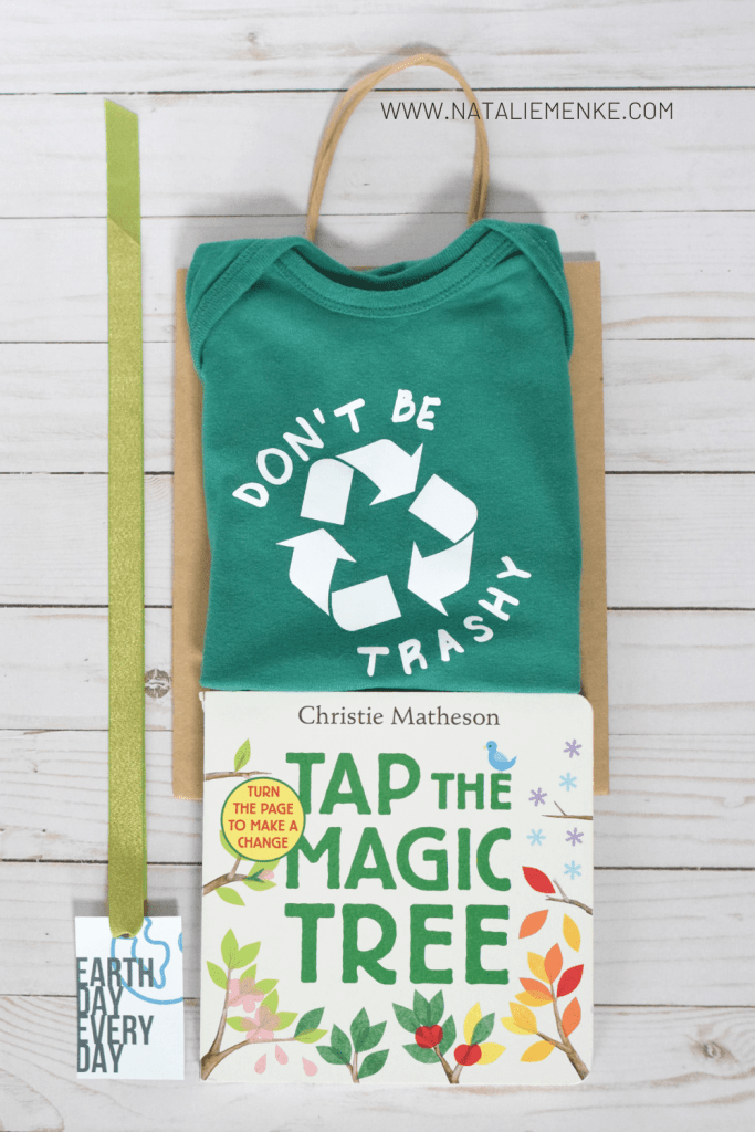 Earth Day gift for kids, including shirt, book and gift tag