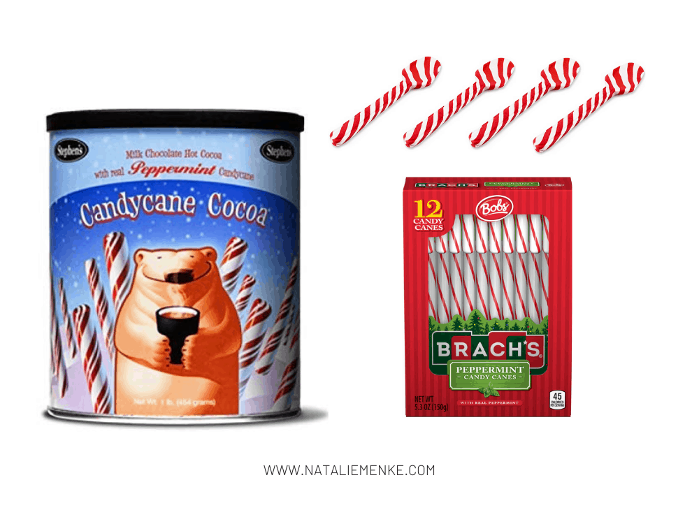 peppermint cocoa, peppermint spoons and candy canes