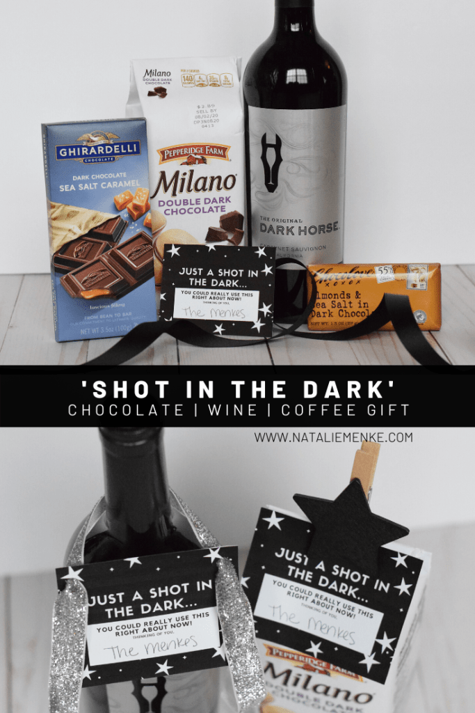'Shot in the dark' gift tag with wine, chocolate and cookies