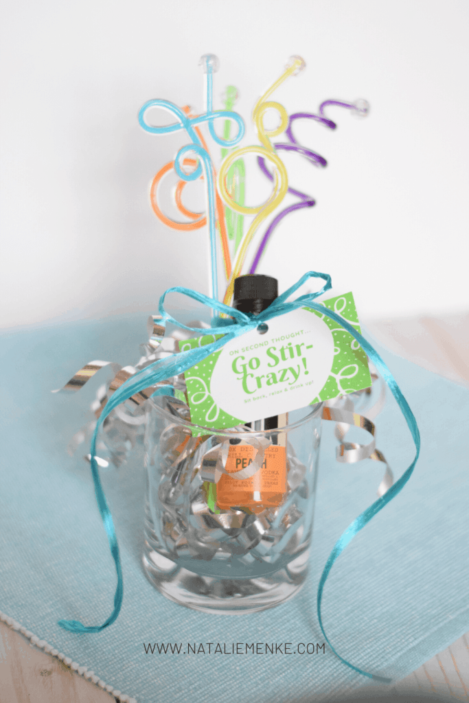 """swizzle sticks, mini liquor bottle and """"stir crazy"""" gift tag with ribbons"""