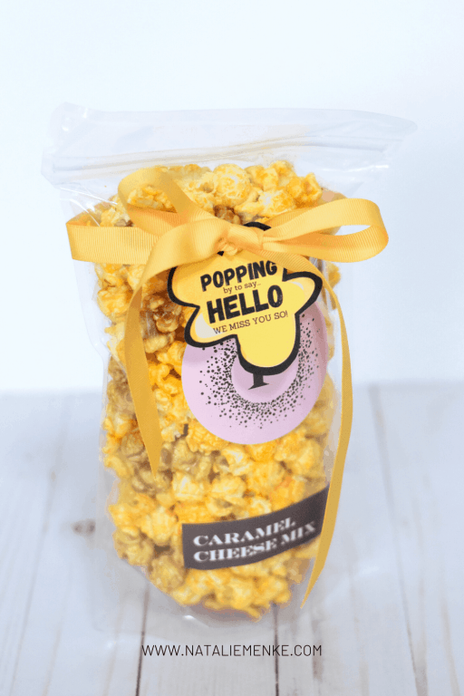 popcorn gift with 'popping by to say hello. We miss you so!' gift tag