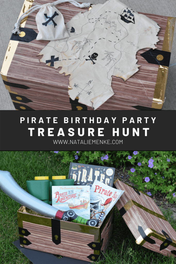 DIY pirate birthday party treasure hunt with pirate themed gifts in treasure chest