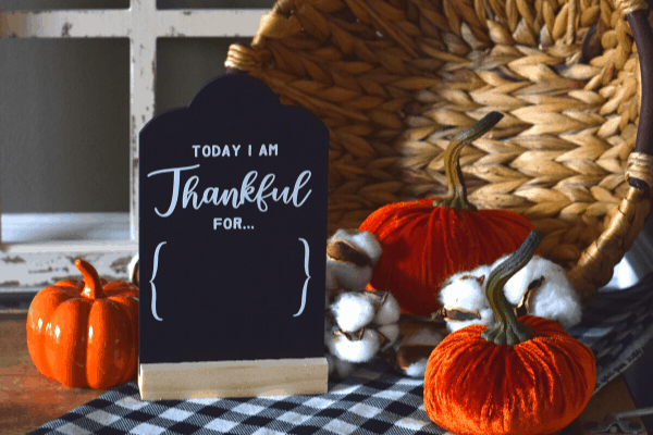 """chalkboard with the words """"today I am thankful for..."""""""