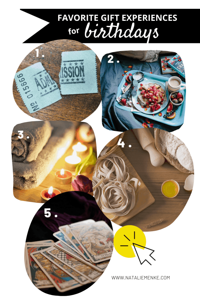 favorite gift experiences for birthdays: tickets, breakfast in bed, spa, cooking class and tarot cards