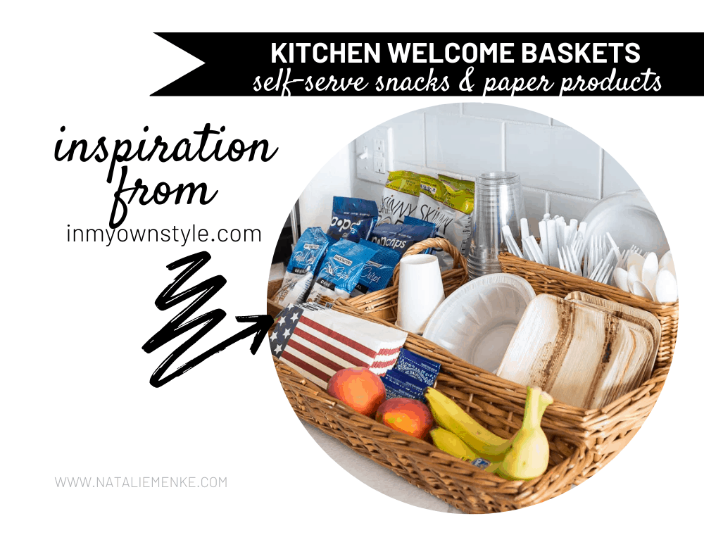 kitchen welcome baskets for self-serve snacks and paper products