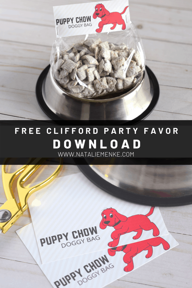 Clifford the Big Red Dog birthday party favors: bags of puppy chow
