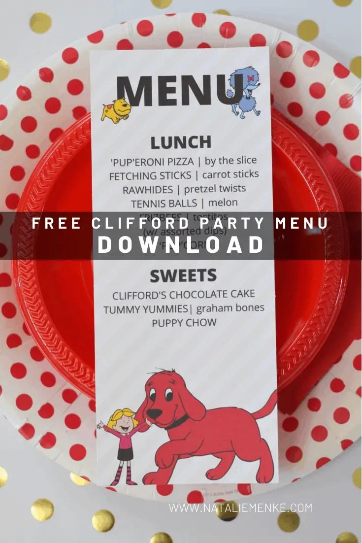 menu printable for a Clifford the Big Red Dog printable