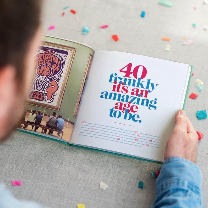 The Book of Everyone personalized 40th birthday book gift idea