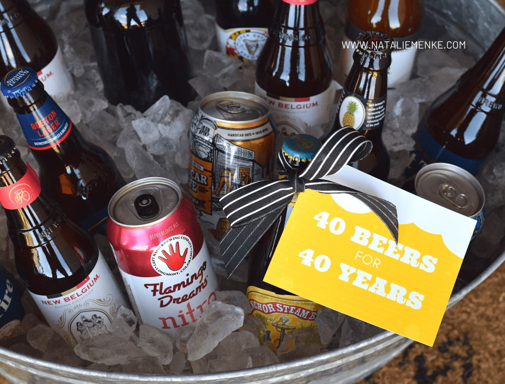 '40 beers for 40 years' beer-themed gift tag tied to a bucket of beers