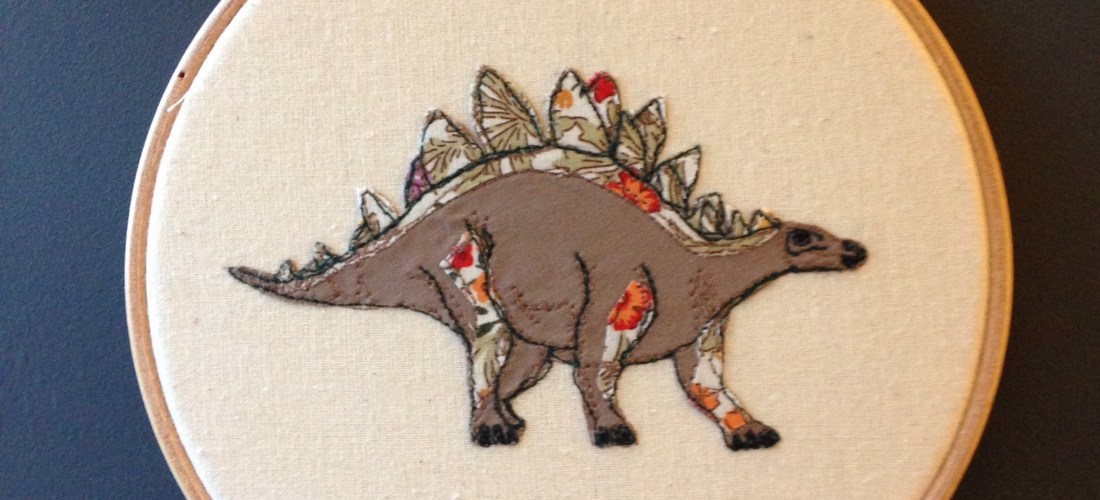 Stockists, potential stockists, freehand machine embroidery, stegosaurus art hoop, wall hanging