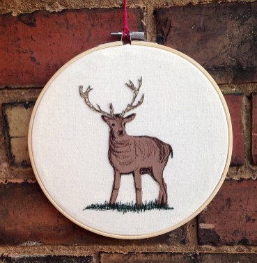 Blog, blog posts, freehand machine embroidery textile art, wall hanging, stag, Wollaton hall park