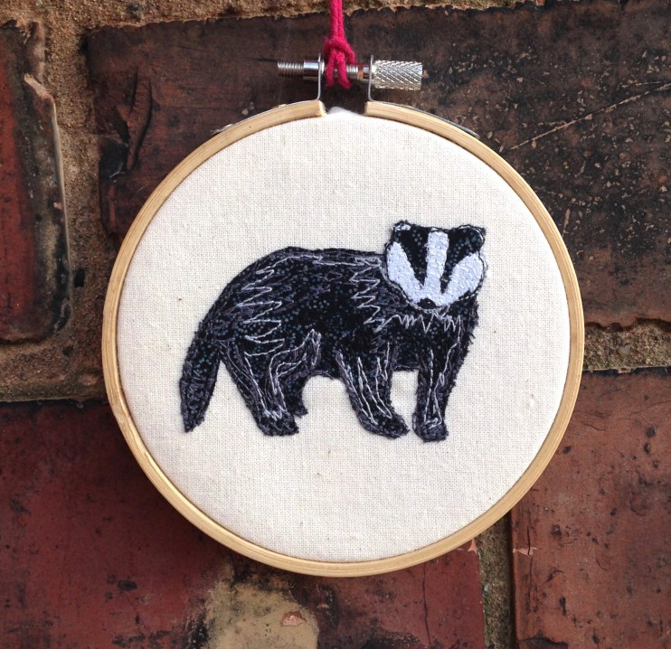 freehand machine embroidery, embroidery hoop, hipster, wall hanging, badger, art, love, nursery, wall hanging