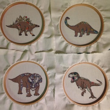 limited edition artwork dinosaurs feehand machine embroidery artwork wall hanging bedroom