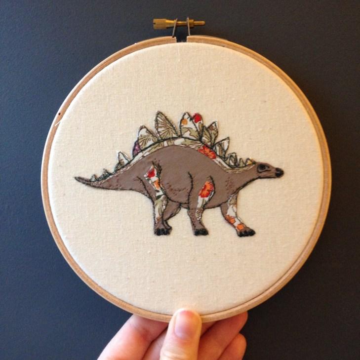 dinosaurs embroidery hoop stegosaurus artwork wall haniging